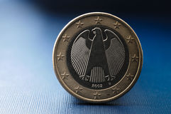 Close up of a one euro coin from the European Union member Germany. The Close up of a one euro coin from the European Union member Germany stock image
