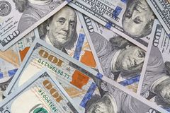 Close up of one hundred dollars banknotes stock images