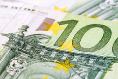 Close-up of One Hundred Euro banknote Stock Image