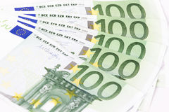 Close-up of One hundred euro banknotes. On white background Stock Image