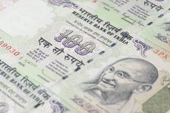 Close up of One Hundred Rupees Stock Photography