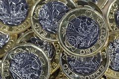 Close up of One Pound Coins - British Currency Stock Photography