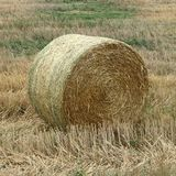 Close-Up of One Straw Bale in a Field. Photography Stock Image