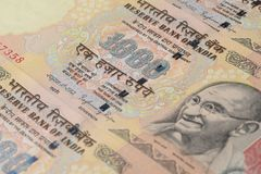 Close up of One Thousand Rupees Stock Images