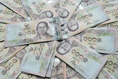Close up of one thousand Thailand bath banknotes. Stock Photo