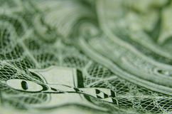 Close up of ONE from US treasury note. royalty free stock images
