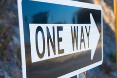 Close Up One Way roadsign traffic  direction Royalty Free Stock Photo