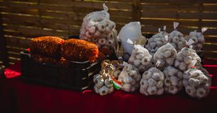Close up onion and garlic at the local market royalty free stock photography