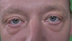 Close-up oog-portret van de mens op middelbare leeftijd met baard en snor het letten calmly op op groene achtergrond stock videobeelden