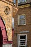 Close-up op Georgische en Victoriaanse huizen bij Hogere Geitsteeg in Norwich, Norfolk, het UK royalty-vrije stock foto