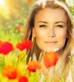 Close-up op mooi vrouwengezicht Stock Fotografie