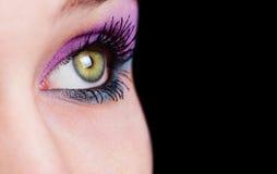 Close-up op oog met mooie make-up stock fotografie