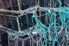 Close-up op Zeekreeftpotten op het dok stock afbeelding