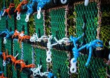 Close-up op Zeekreeftpotten op het dok stock afbeeldingen