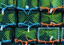 Close-up op Zeekreeftpotten op het dok stock foto
