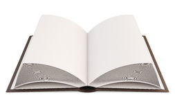 Close up of open book with blank page. 3d. Close up of open book with blank page  on white background. 3d illustration Royalty Free Stock Photos