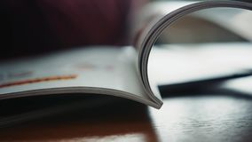 Close up on open book pages daily notebook. Close up on open book pages stock video