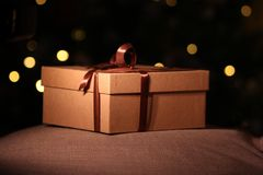 Close-up open and closed gift box with brown ribbon royalty free stock photo