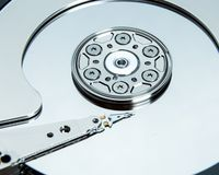 Close up of open computer hard disk drive Royalty Free Stock Photos