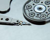 Close up of open computer hard disk drive Royalty Free Stock Photography