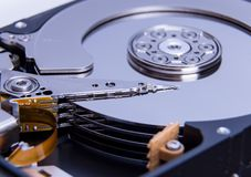 Close up of open computer hard disk drive royalty free stock photo
