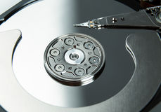 Close up of open computer hard disk drive HDD Royalty Free Stock Photos