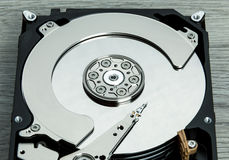 Close up of open computer hard disk drive HDD Royalty Free Stock Photo