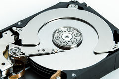 Close up of open computer hard disk drive HDD Stock Image