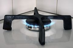 Gas burner with a flame stock photos