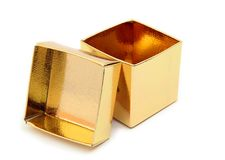 Open Gift Box. Close-up of an open, gold foil gift box Royalty Free Stock Photography