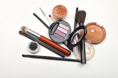 Close-up of open jar of loose powder, compact powder, eyeliner, Stock Photo