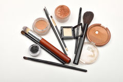 Close-up of open jar of loose powder, compact powder, eyeliner, Stock Photography