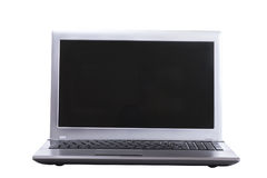 Close up on an open laptop with blank screen stock image