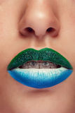 Close up open mouth with art make up Royalty Free Stock Image