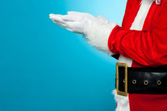 Close up of open palms of Santa Claus Royalty Free Stock Photo