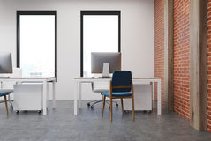 Open space office interior, brick wall Stock Image