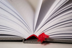 Close-up of opened book pages bookmark Royalty Free Stock Photography