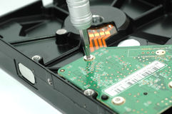 Close up of opened hard disk drive Royalty Free Stock Image