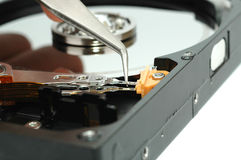 Close up of opened hard disk drive Stock Photography