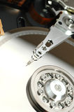 Close up of opened hard disk drive Royalty Free Stock Photos