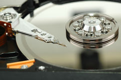 Close up of opened hard disk drive Royalty Free Stock Photography
