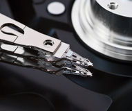 Close-up opened hard disk drive. Macro open hard disk drive Royalty Free Stock Photos