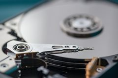 Close up on opened hard disk drive. Royalty Free Stock Photography