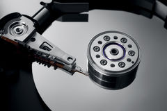 Close-up of an opened hard drive royalty free stock photo