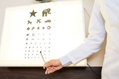Ophthalmologist Pointing to Eye Chart. Close up of ophthalmologist hand pointing to eye chart for children with pictures on it in pediatric optometry office royalty free stock photo