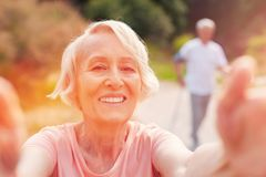 Close up of optimistic elderly woman royalty free stock images