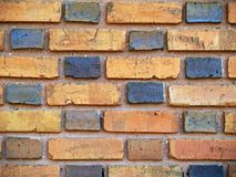 Close-up Orange and Brown Duo-Sized Brick Wall. Close up view of an Old brick exterior wall with Orange and brown duo-sized bricks stock image