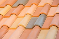 Close up of orange clay roof tiles Royalty Free Stock Photography