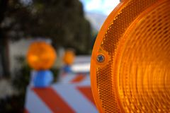 Close-Up Orange Construction Barricade stock photography