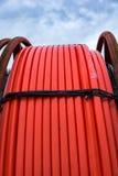 Close up of orange fiberoptic hose Royalty Free Stock Photos